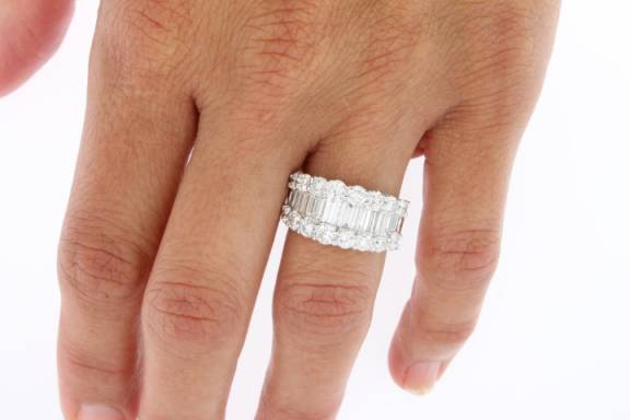 bands platinum band baguette wedding diamond