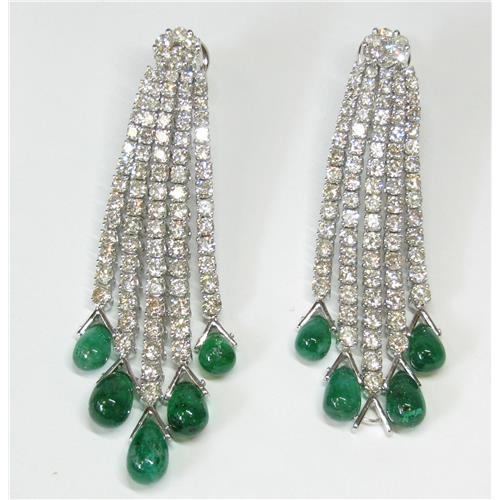 18k Las Diamond And Emerald Drop Earrings