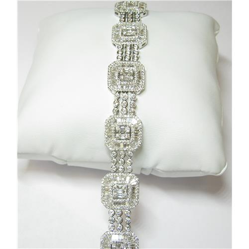 mens baguette diamond white inches bracelet ct cut gold link
