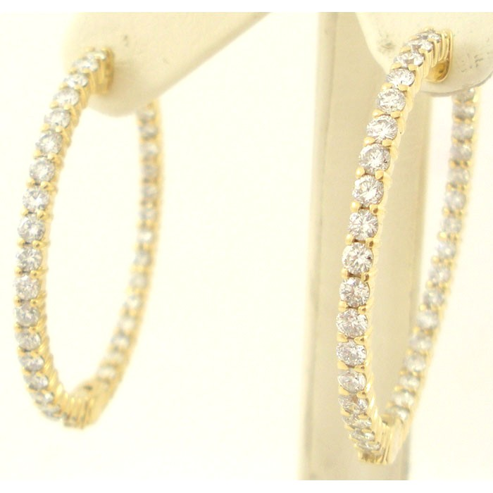 Diamond Hoop Earrings In Yellow And White Gold 4 Carats Of Diamo